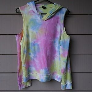 🍉$10 Girls Cold Shoulder Pastel Tie Dyed Hoodie
